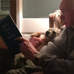 Clare Pooley's father and her dog Otto